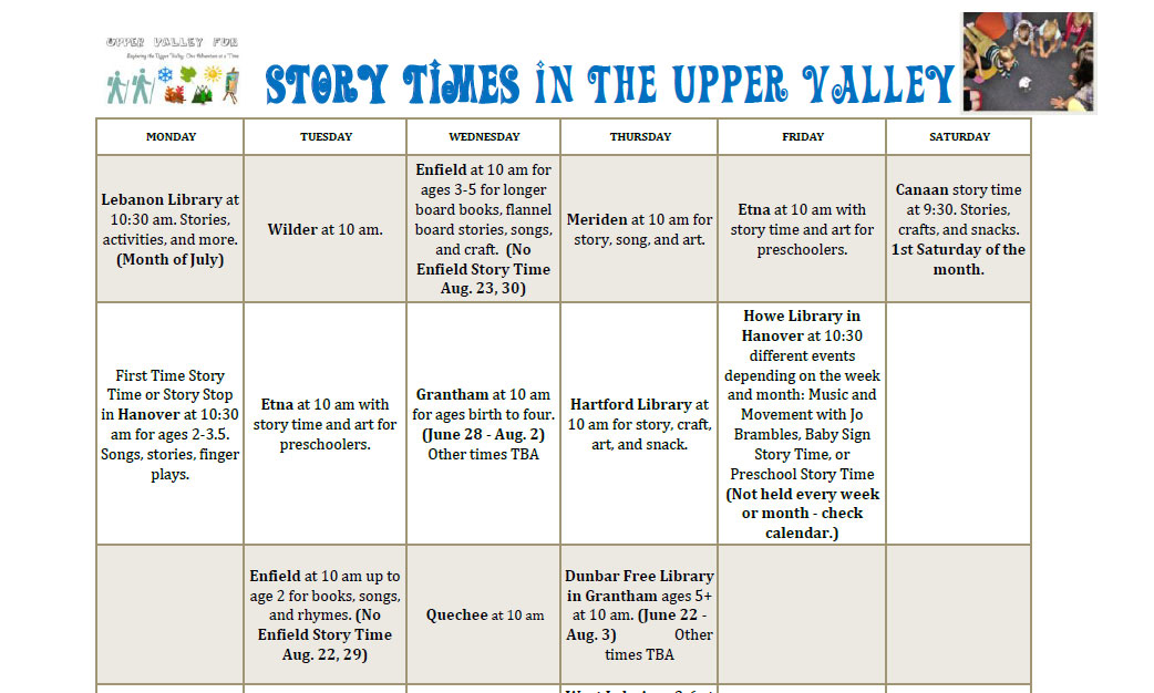 calendar story times in upper valley